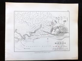 Alison & Johnston 1852 Battle Map. Battle of Barrosa, Spain